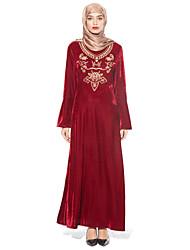 baratos -Mulheres Boho Manga Alargamento Solto Bainha Jalabiyah Vestido Cristal/ Strass Cintura Alta Longo