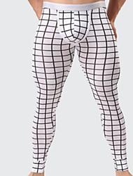 cheap -Men's Micro-elastic Print Long Johns Medium,Cotton One-piece Suit Light gray Dark Gray Black White