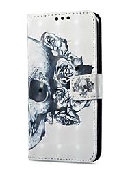 Недорогие -Кейс для Назначение Huawei P9 lite mini Бумажник для карт Кошелек со стендом Флип Магнитный С узором Чехол Черепа Твердый Кожа PU для P9