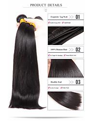 Недорогие -3 Связки Бразильские волосы Прямой 8A Натуральные волосы Человека ткет Волосы Ткет человеческих волос Расширения человеческих волос / Прямой силуэт