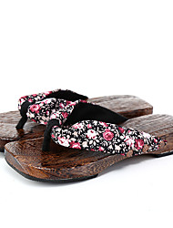 cheap -Women's Shoes Fabric Summer Comfort Slippers & Flip-Flops Flat Heel Round Toe for Casual Black Red Blue