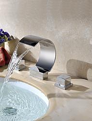 abordables -Moderne Diffusion large Jet pluie Soupape en laiton Deux poignées trois trous Chrome, Robinet lavabo