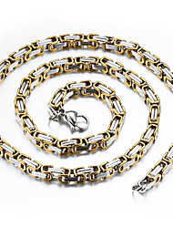 cheap -Men's Gold Plated Chain Necklace  -  Hip-Hop Fashion Rock , Gold Silver Necklace For Daily Street