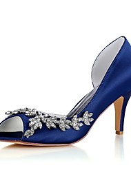 cheap -Women's Shoes Stretch Satin Spring Summer Basic Pump Wedding Shoes Stiletto Heel Peep Toe Crystal for Party & Evening Dress Dark Blue