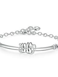 abordables -Femme Chaînes & Bracelets Bracelets Rigides - Plaqué argent Doux, Mode Bracelet Argent Pour Cadeau Soirée