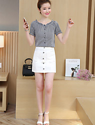 cheap -Women's Going out Simple Fall Blouse Skirt Suits,Solid Round Neck Short Sleeves Cotton Polyester