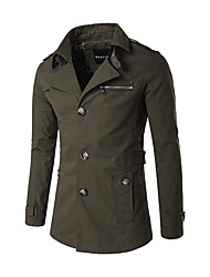cheap -Men's Cotton Trench Coat - Solid Colored Shirt Collar / Long Sleeve