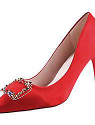 cheap -Women's Shoes PU Spring Fall Comfort Heels High Heel Pointed Toe for Casual Pink Red Black