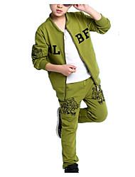Недорогие -Мальчики Набор одежды Повседневные Хлопок С животными принтами Весна Длинный рукав Простой Черный Серый Светло-зеленый