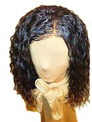 abordables -Cheveux humains Dentelle frontale Perruque Cheveux Brésiliens Bouclé Ondulation Avec Mèches Avant 150% Densité Perruque afro-américaine