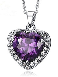 cheap -Women's Heart Synthetic Amethyst Pendant Necklace  -  Fashion Purple Necklace For Gift Valentine