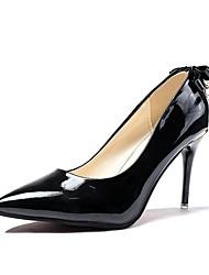 preiswerte -Damen Schuhe PU Frühling Komfort High Heels Stöckelabsatz Spitze Zehe Schleife für Normal Schwarz Grau Rot Rosa