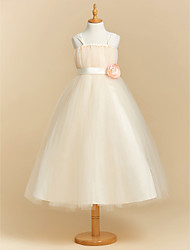 cheap -Ball Gown Ankle Length Flower Girl Dress - Polyester Tulle Sleeveless Spaghetti Straps with Bow(s) Sash / Ribbon Flower by LAN TING BRIDE®