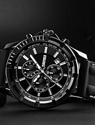 baratos -SKMEI Homens Quartzo Relógio Esportivo Chinês Calendário Impermeável Cronômetro Silicone Banda Luxo Casual Fashion Legal Preta