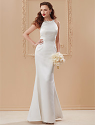 cheap -Mermaid / Trumpet Jewel Neck Floor Length Satin Wedding Dress with Side-Draped by LAN TING BRIDE®