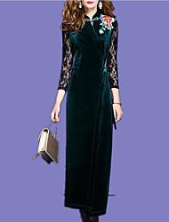 economico -Per donna Attillato Vestito - Con stampe, Tinta unica Colletto alla coreana Maxi
