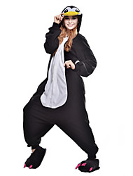 cheap -Adults' Kigurumi Pajamas Penguin Onesie Pajamas Costume Polar Fleece / Synthetic Fiber Black Cosplay For Animal Sleepwear Cartoon Halloween Festival / Holiday