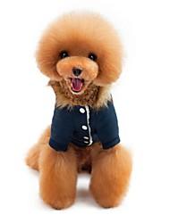 baratos -Gato Cachorro Casacos Camisola com Capuz Macacão Roupas para Cães Formais Azul Escuro Vermelho Tecido Alcochoado Lã Polar Poliéster