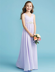 cheap -A-Line / Princess V Neck Floor Length Chiffon / Lace Junior Bridesmaid Dress with Lace / Pearls / Sash / Ribbon by LAN TING BRIDE®