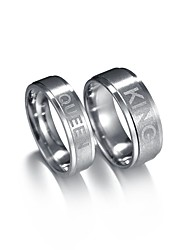 abordables -Couple Mignon Lettre Couple de Bagues - 2pcs Asiatique / Mode Argent Bague Pour Valentin / Rendez-vous