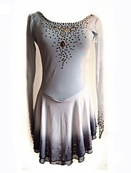 cheap -Figure Skating Dress Women's Ice Skating Dress Grey Spandex Stretch Yarn Stretchy Beginner Professional Skating Wear Angel Sexy Rhinestone