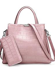 baratos -Mulheres Bolsas PU Conjuntos de saco 2 Pcs Purse Set Ziper Preto / Vermelho / Rosa