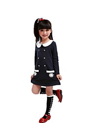 cheap -Girl's Daily Holiday Solid Simple Butterfly Dress, Cotton Acrylic All Seasons Long Sleeves Vintage Cute Princess Red Navy Blue