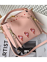cheap -Women Bags PU Shoulder Bag Embroidery for Casual Outdoor Winter Fall Light Grey Brown Blushing Pink White Green