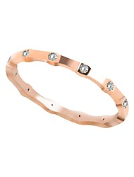 cheap -Women's Cubic Zirconia Stainless Steel / Zircon Band Ring / With Gift Box - Metallic / Classic / Casual Rose Gold Ring For Daily