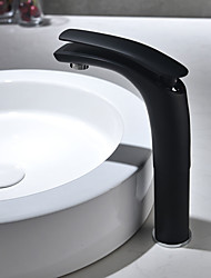 cheap -Traditional Centerset Widespread Ceramic Valve Single Handle One Hole Black , Bathroom Sink Faucet
