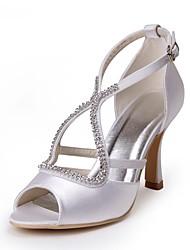 economico -Per donna Scarpe Seta Primavera / Estate Decolleté scarpe da sposa A stiletto Punta aperta Fibbia Bianco / Matrimonio / Serata e festa