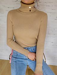 preiswerte -Damen Standard Pullover-Alltag Solide Rollkragen Langarm Polyester Alle Jahreszeiten Dünn Mikro-elastisch
