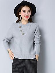 economico -Standard Pullover Da donna-Per uscire Tinta unita Rotonda Maniche lunghe Cashmere Inverno Spesso Elevata elasticità