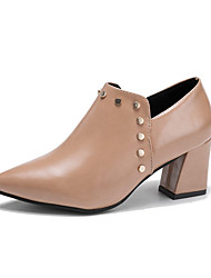 cheap -Women's Shoes PU Spring Fall Comfort Fashion Boots Heels Chunky Heel Booties/Ankle Boots for Casual Black Pink Khaki