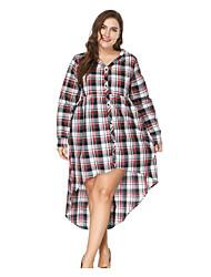 baratos -Mulheres Camisa Vestido Xadrez Colarinho de Camisa