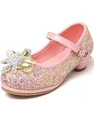 cheap -Girls' Shoes PU(Polyurethane) Spring Comfort / Novelty / Flower Girl Shoes Flats Crystal / Buckle for Silver / Blue / Pink / Wedding / Party & Evening