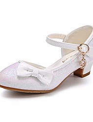 cheap -Girls' Shoes Sparkling Glitter / PU(Polyurethane) Spring / Fall Comfort / Flower Girl Shoes / Tiny Heels for Teens Heels for Gold / White / Pink