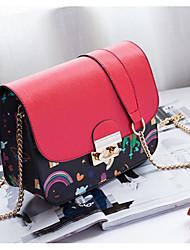 economico -Per donna Sacchetti PU (Poliuretano) Borsa a tracolla Bottoni A fantasia / stampa per Casual Per tutte le stagioni Verde Nero Rosso Rosa