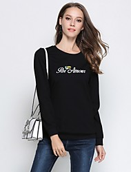cheap -MISSGIRL Women's Sports Going out Casual Street chic Embroidery Round Neck Plus Size Regular, Long Sleeves Winter Spring/Fall Cotton