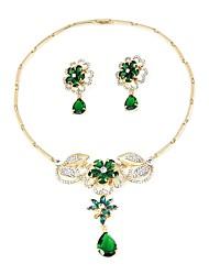 baratos -Mulheres Chapeado Dourado Conjunto de jóias 1 Colar / Brincos - Básico / Fashion Verde Conjunto de Jóias / Sets nupcial Jóias Para
