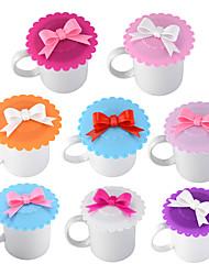 Недорогие -милый лук кружева пылезащитный многоразовый чашка силиконовая крышка теплоизоляция печать чашка крышки 1шт случайный цвет
