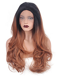 cheap -Synthetic Wig Wavy / Body Wave Synthetic Hair Ombre Hair / Middle Part / African American Wig Black / Brown Wig Women's Long Capless
