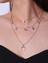 cheap -Women's Moon Multi Layer Fashion Pendant Necklace Imitation Pearl Rhinestone Imitation Pearl Alloy Pendant Necklace , Party Date