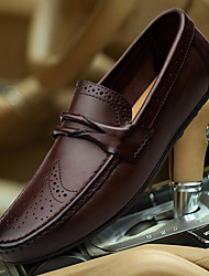 cheap -Men's Shoes Nappa Leather Winter Fall Driving Shoes Moccasin Loafers & Slip-Ons for Wedding Casual Black Brown