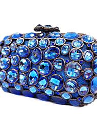 Недорогие -жен. Мешки стекло Металл Вечерняя сумочка Кристаллы для Свадьба Для праздника / вечеринки Весна Осень Синий Черный Серебряный
