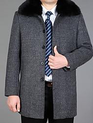 cheap -Men's Casual Long Wool Coat-Solid Colored Shirt Collar