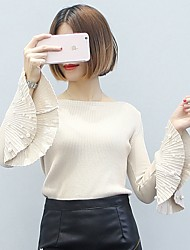 cheap -Women's Daily Going out Cute Sexy Street chic Regular Pullover,Solid Round Neck Long Sleeves Japanese Cotton Wool Blend Winter Spring