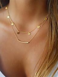 Недорогие -Жен. Круглый форма металлический Классика Гипоаллергенный Слоистые ожерелья , Сплав Слоистые ожерелья Подарок Повседневные Бижутерия