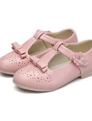 preiswerte -Mädchen Schuhe PU Frühling Sommer Tiny Heels für Teens Schuhe für das Blumenmädchen High Heels für Normal Weiß Schwarz Rot Rosa