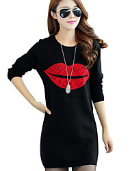 cheap -Women's Plus Size Going out Club Casual Sweatshirt Print Round Neck Micro-elastic Cotton Long Sleeve Winter